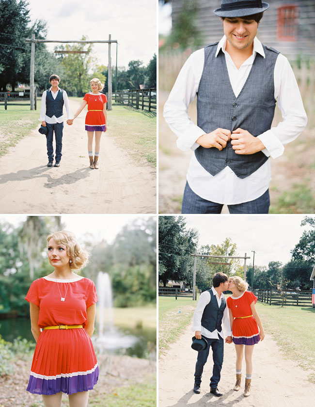 engagement, red dress