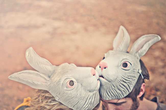 couple with bunny masks
