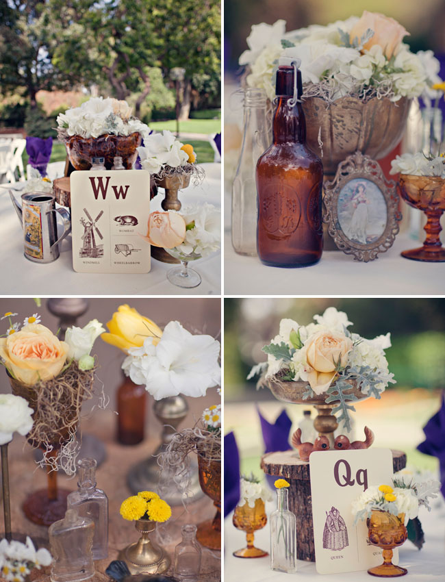 bottles and frames centerpieces