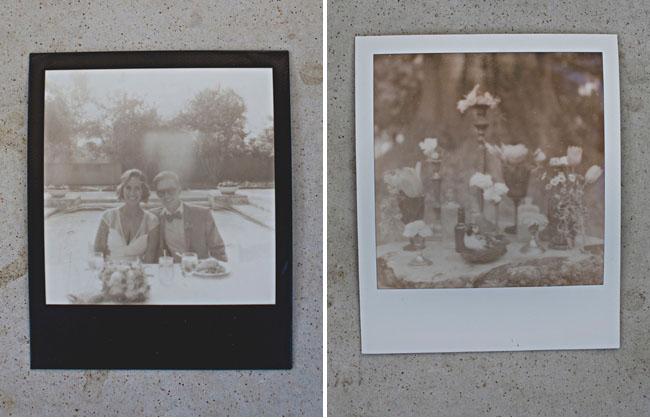 bride and groom polaroid