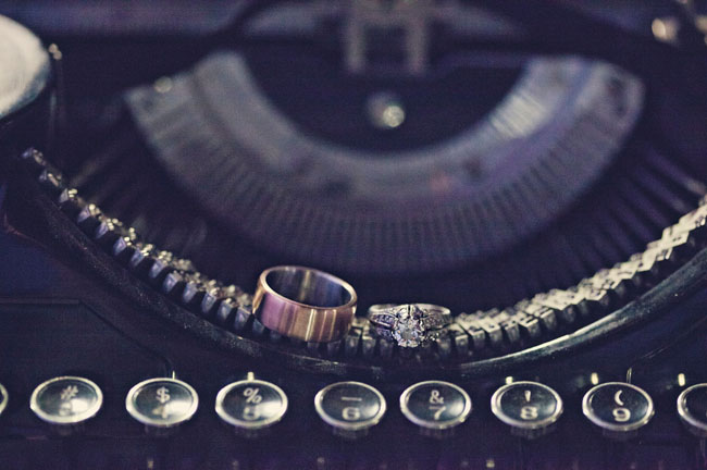 wedding rings on typewriter