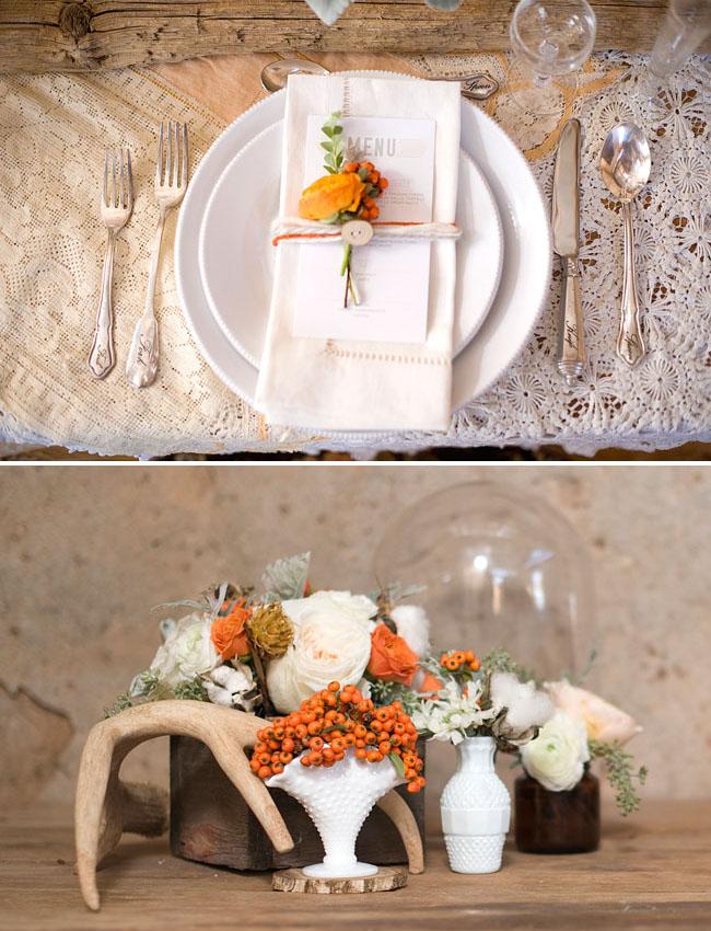 winter wedding inspiration, orange florals