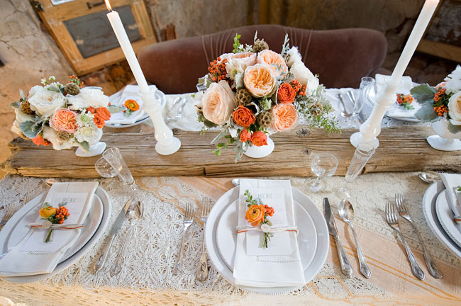 winter wedding inspiration, orange florals