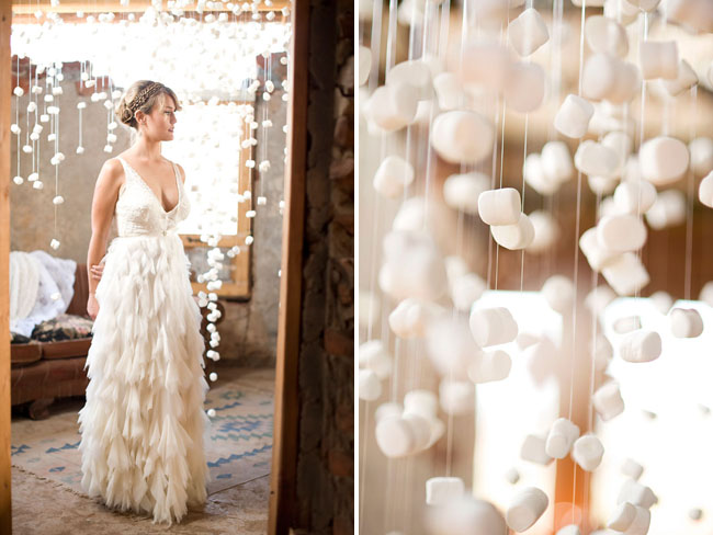 ruffled wedding dress, marshmallow installation