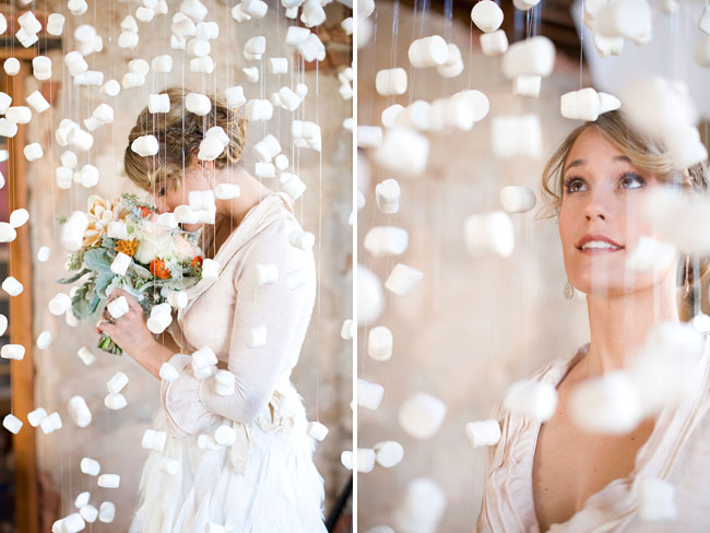 ruffled wedding dress, marshmallow installation