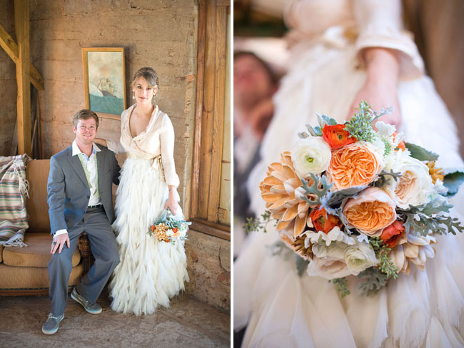 ruffled wedding dress, orange bouquet