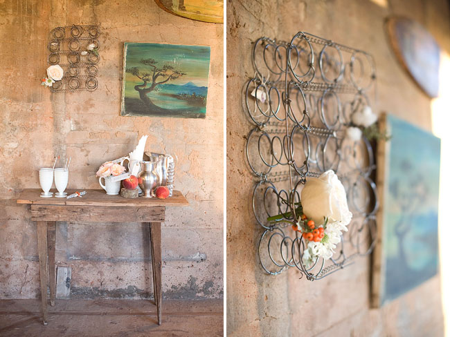 bedspring decor, vintage table