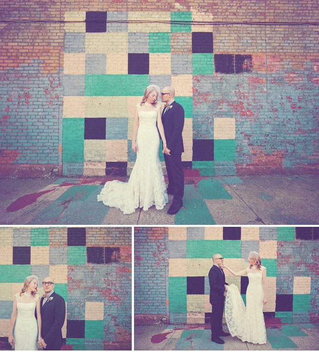 bride and groom, colorful block wall