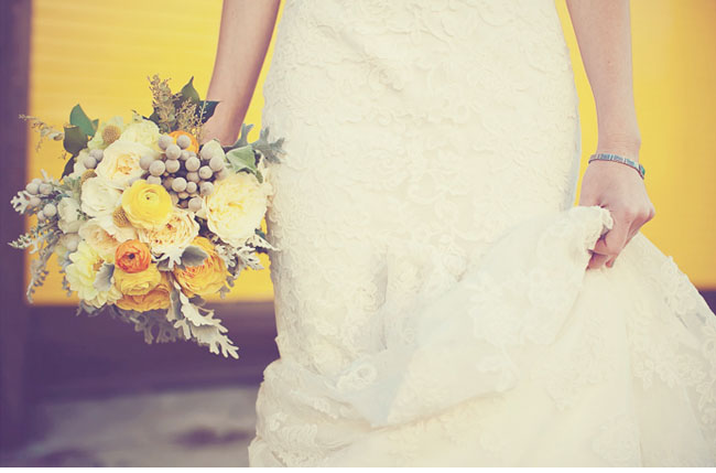 gray and yellow bouquet