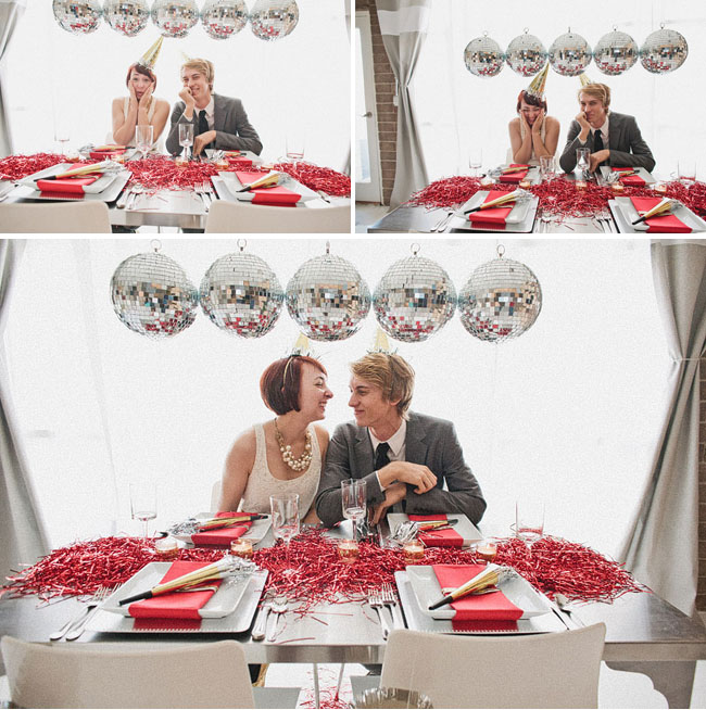 disco ball tablescape