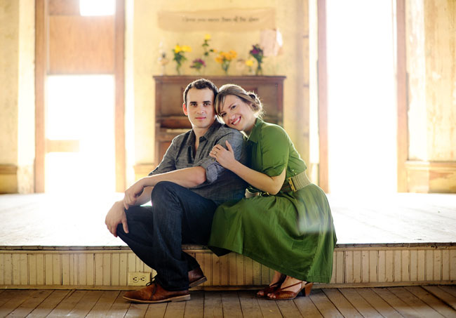 green dress, engagement