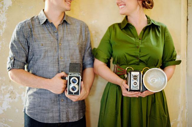 vintage cameras, engagement