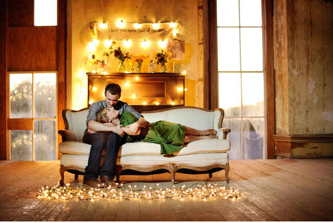 lights, engagement, green dress