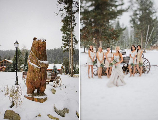 winter wedding in the snow, bridesmaids