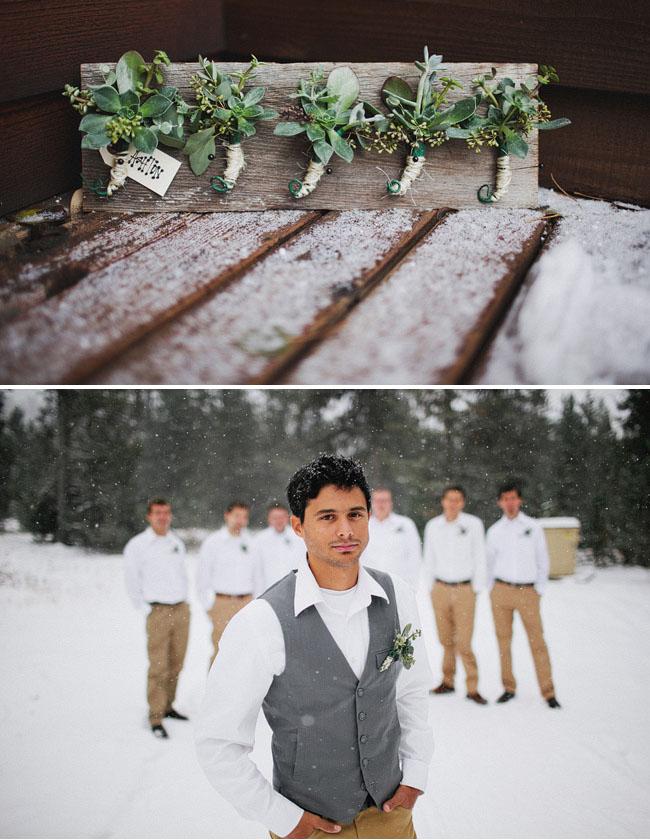 groomsmen snow wedding