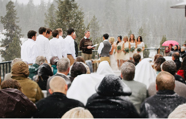 snowy wedding ceremony
