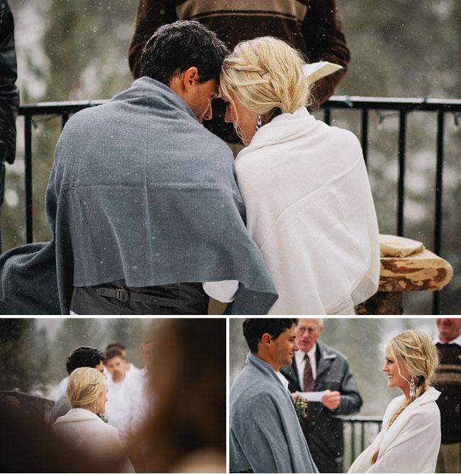 snowy wedding ceremony