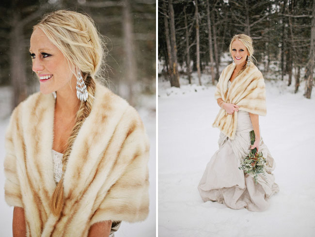 bride in fur wrap, snow