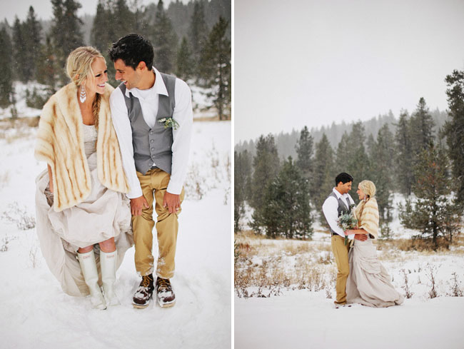 bride in white hunter rainboots