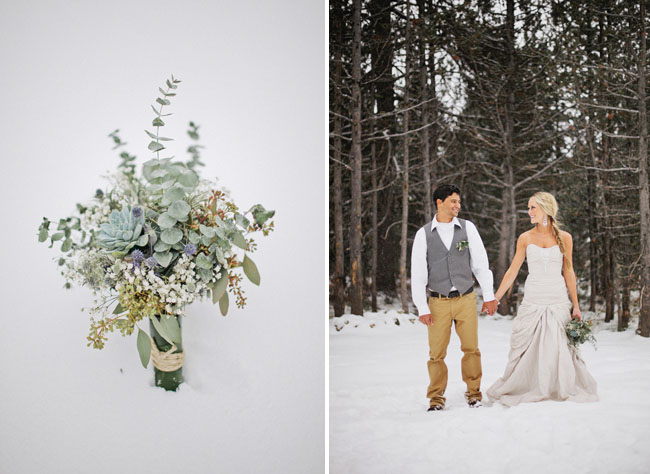 green bouquet, bride and groom in snow