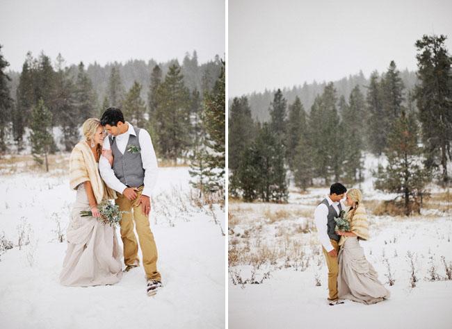 bride annd groom, snow