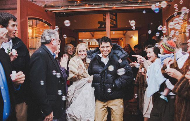 bubbles wedding exit
