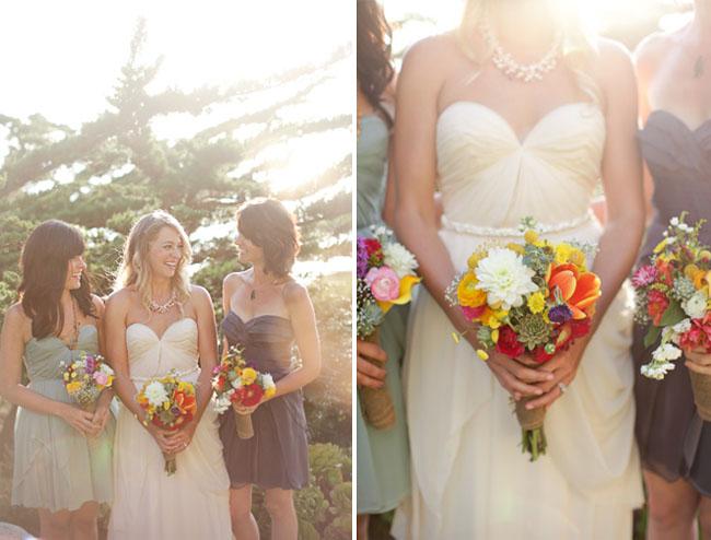 bright bouquet, sarah seven wedding dress