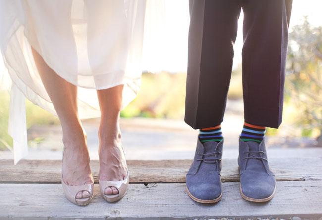 nude heels, striped grooms socks