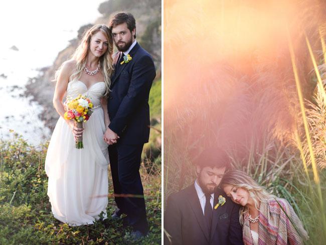 big sur, bride and groom