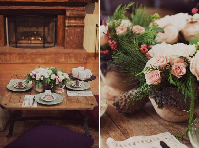 wooden centerpieces, rustic tablescape