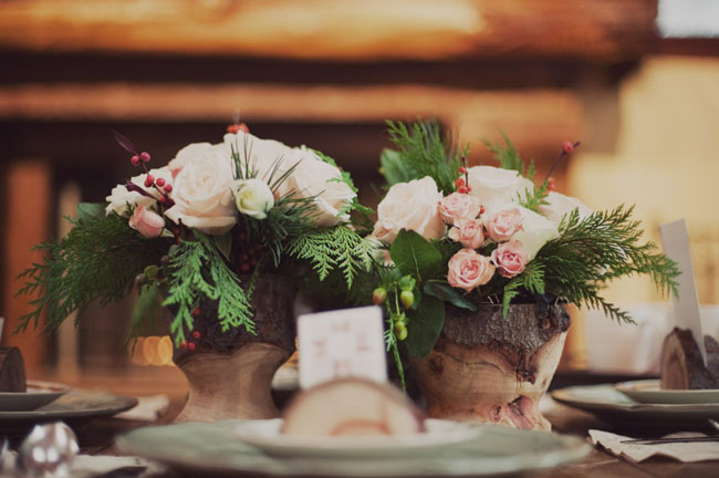 ferns and roses centerpieces