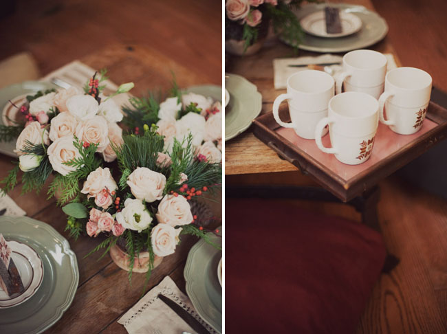 wooden tablescape, mugs