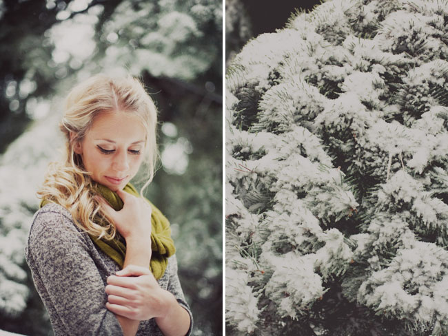 bridesmaid in snow, snow capped trees