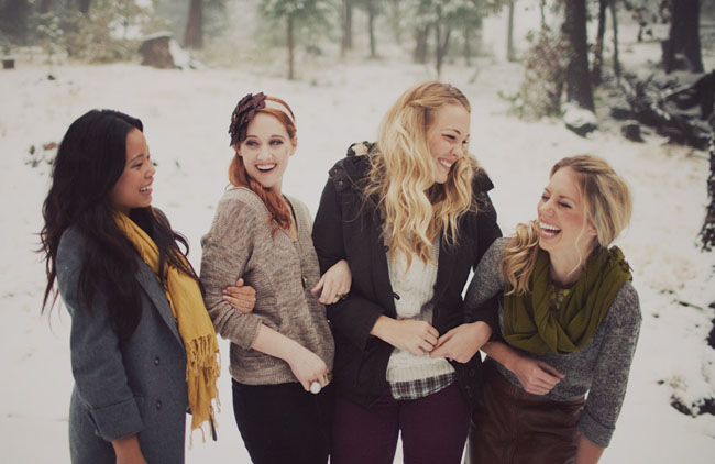 girls in snow