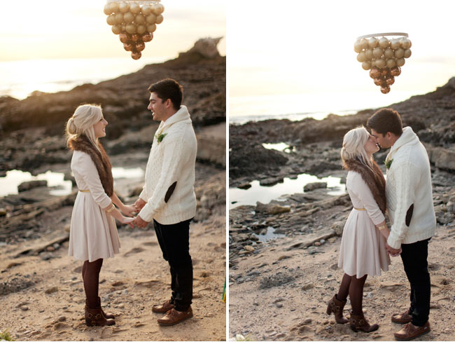 winter elopement on the beach