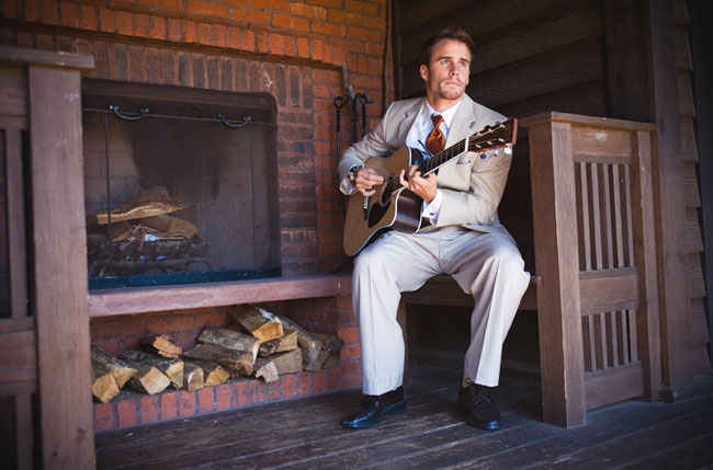 groomsmen playing guitar