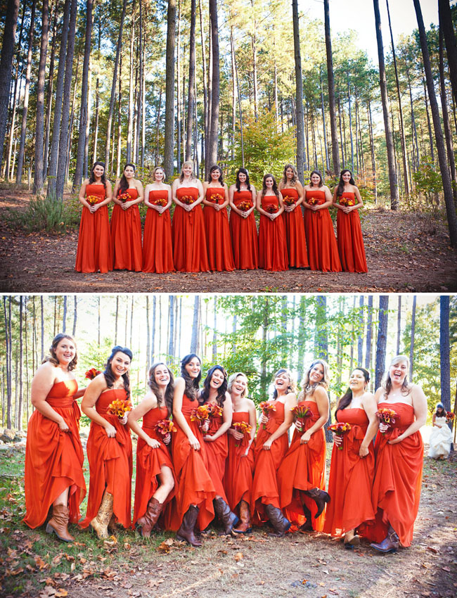 bridesmaids in orange