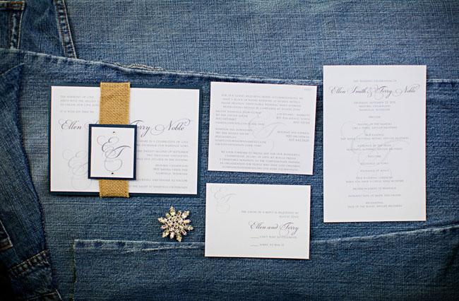 white with gold ribbon wedding invitation