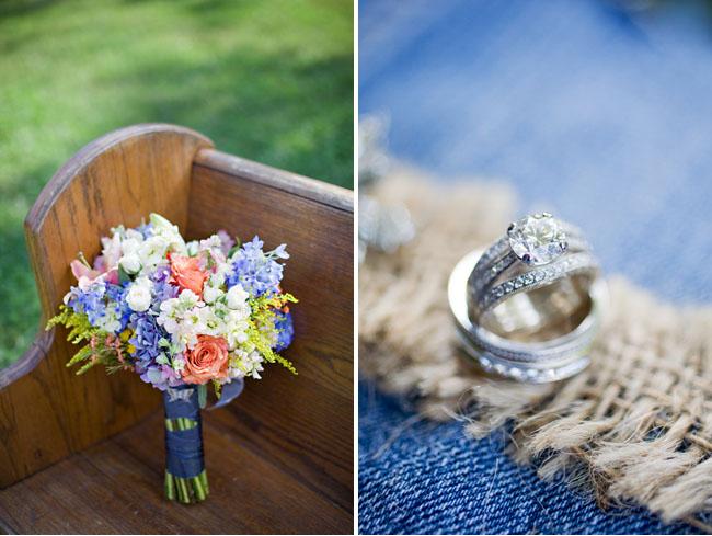 pastel bouquet, rings on burlap