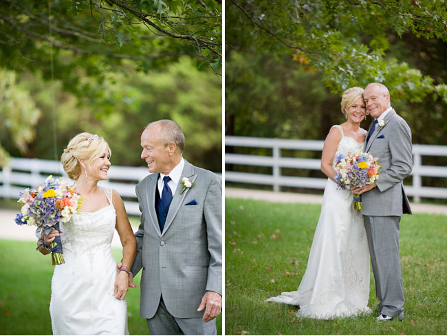 bride and groom, groom in gray suit