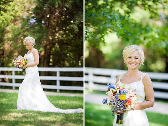 bride in shoulder sleeved dress