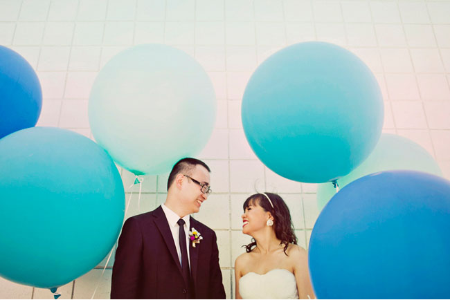couple with giant balloons