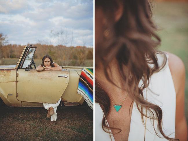 vintage car, navajo blanket