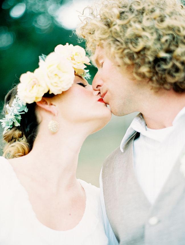 bride in floral hair piece