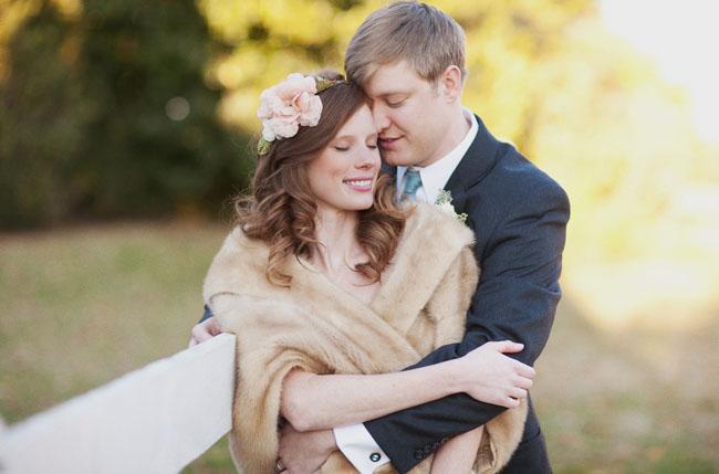 bride in fur wrap