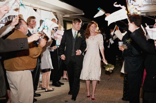 flag wedding exit