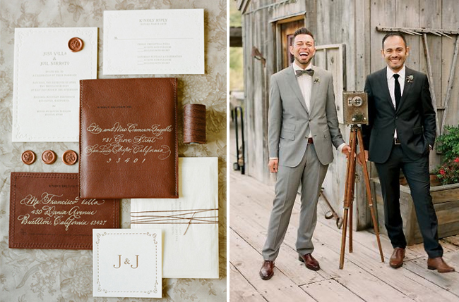 leather wedding invitations