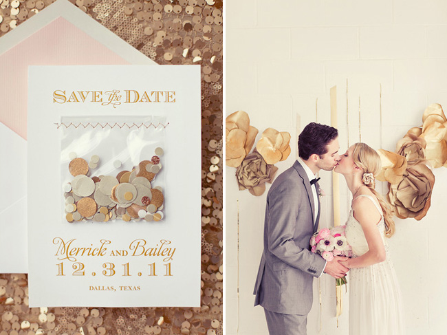 A new years eve sparkly wedding confetti wedding save the date junglespirit Choice Image