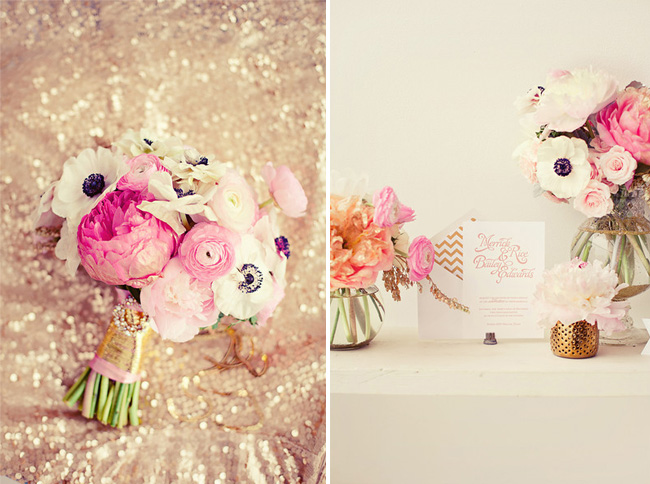 pink and white bouquet with sparkles