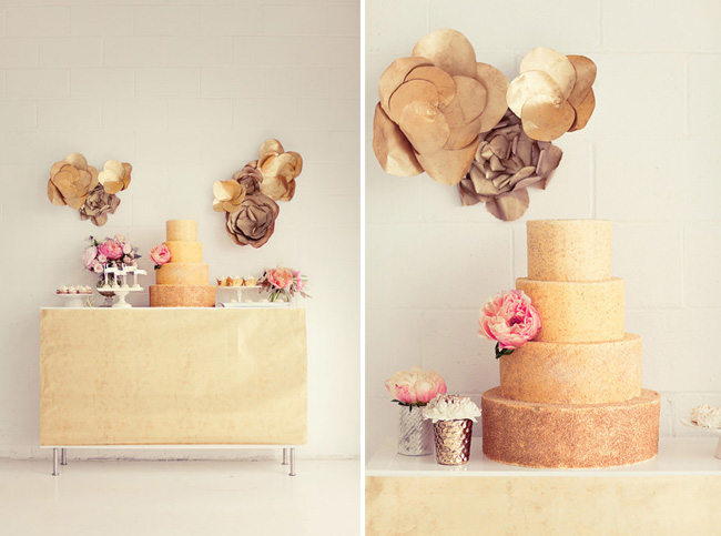 gold ombre wedding cake